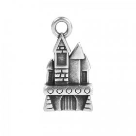 Antique Silver Zamak Castle Charm 11x17mm Pk1