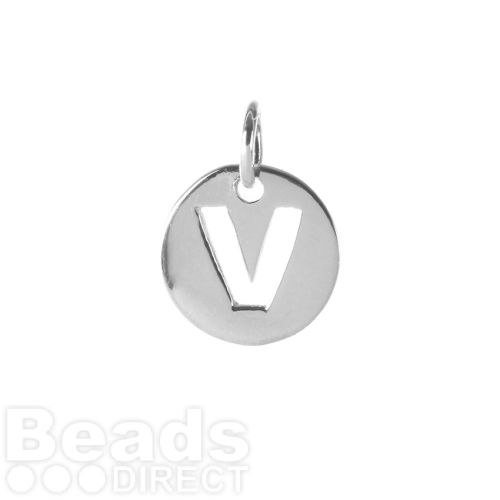 Sterling Silver 925 'V' Letter Cut Out Charm 11mm Pk1