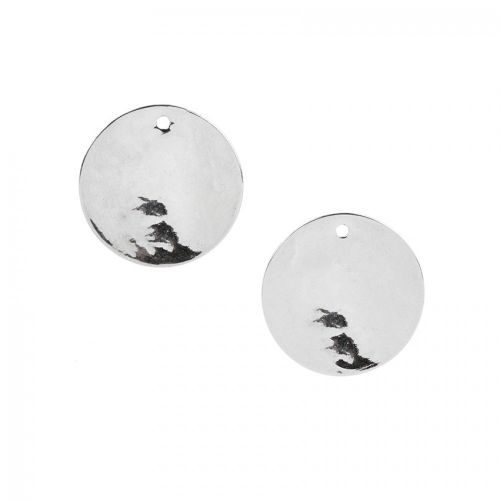"""X"" Titanium Plated 10mm Hammered Round Charm Disk Pk 5"