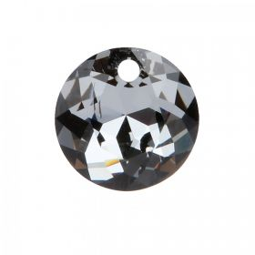 6430 Swarovski Crystal Classic Cut Charm 10mm Crystal Silver Night Pk1