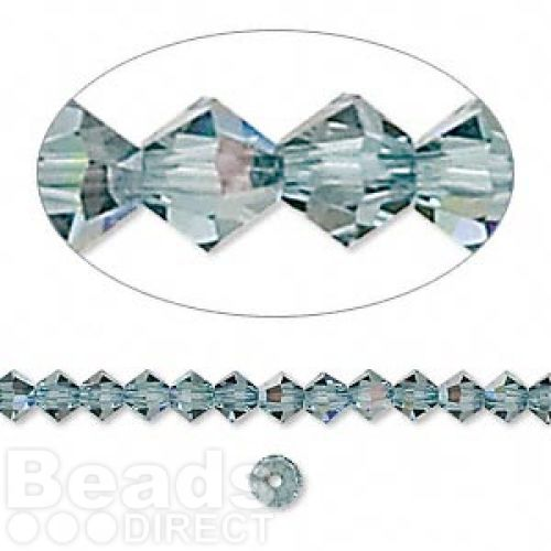 """X"" 5328 Swarovski Crystal Bicones Xillion 4mm Indian Sapphire AB Pk24"