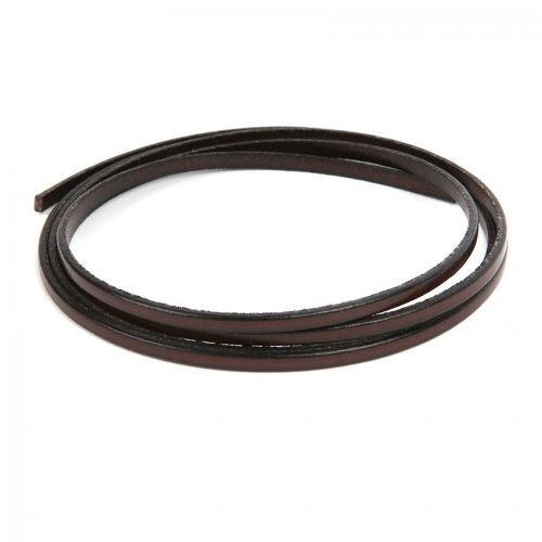 Dark Brown Flat Genuine Leather Cord 3mm Pre Cut 1metre