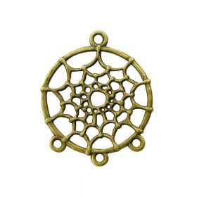 Dream catcher / earring base / 34x28x1.5mm / antique bronze / hole 1.5mm / 2pcs