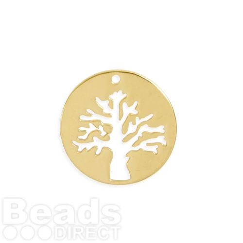 Gold Plated Brass Tree Cut Out Circle Charm 19mm Pk1