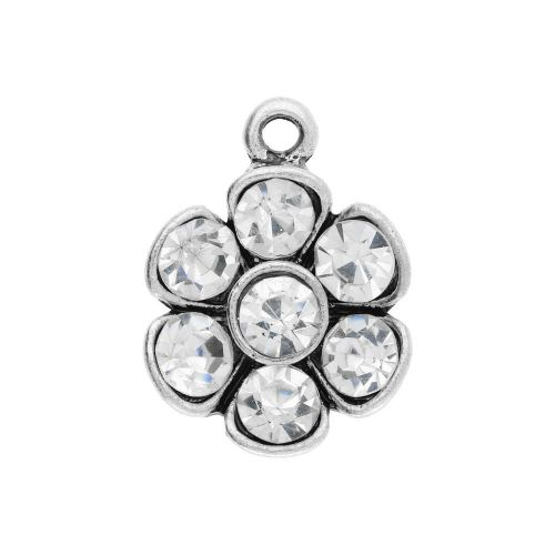 Glamm ™ Flower / charm pendant / with zircons / 20x15x4mm / silver plated / 1pcs