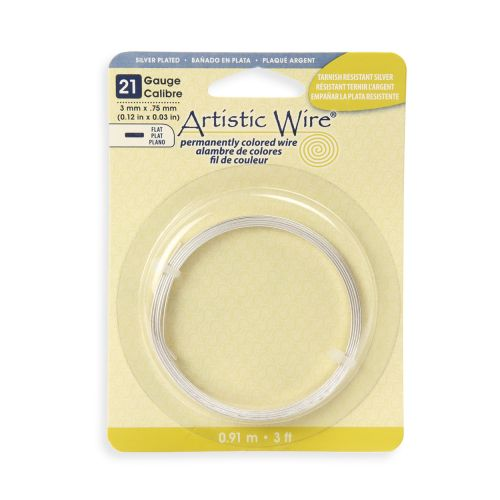 X-Beadalon Artistic Wire Silver Plated Flat Wire 21 Gauge 0.75x3mm 3ft Coil
