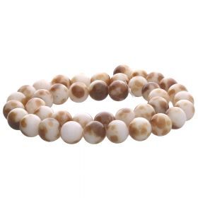 Jade / round / 6mm / brown-white / 68pcs