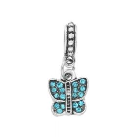Glamm ™ Butterfly / charm pendant / with zircons / 23x10x8mm / silver plated / turquoise / 1pcs