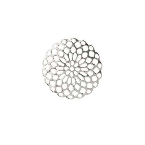 X-Silver Plated Filigree Flower Connector 20mm Pk2