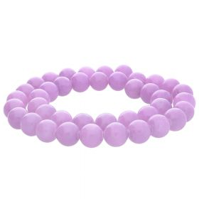 Jade / round / 8mm / bright lavender / 50pcs