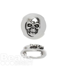 Antique Silver Slider Charm Bead Skull Design 12mm Pk1