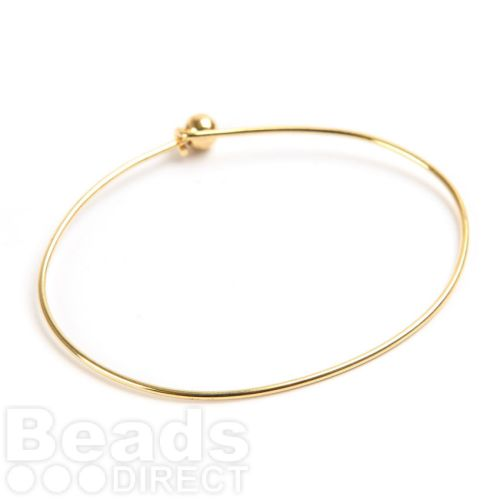 Gold Plated Bangle Bracelet Base 50x65mm with Ball and Hook Fasten Pk1
