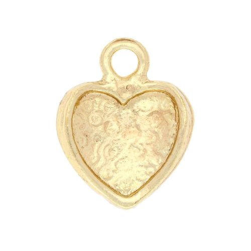 SweetCharm ™ Heart with a bow / charm pendant / 16x14x4mm / gold plated / black / 2pcs