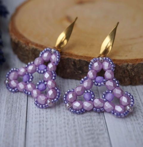 How to make earrings using Firepolish beads - step by step tutorial