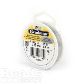 Beadalon 19 Strand Flexible Beading Wire 'Satin Silver' 0.012in 30ft