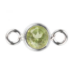 Sterling Silver 925 Peridot CZ August Birthstone Connector 4mm Pk1