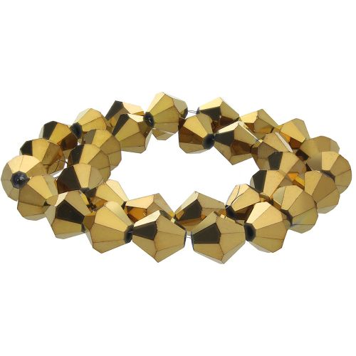 CrystaLove™ crystals / glass / bicone / 2mm / gold / lustered / 198pcs