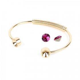 Gold Plated Coil Bangle Kit SS39 made with Swarovski Fuchsia F Pk1