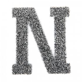 Swarovski Crystal Letter 'N' Self-Adhesive Fabric-It Black CAL Pk1