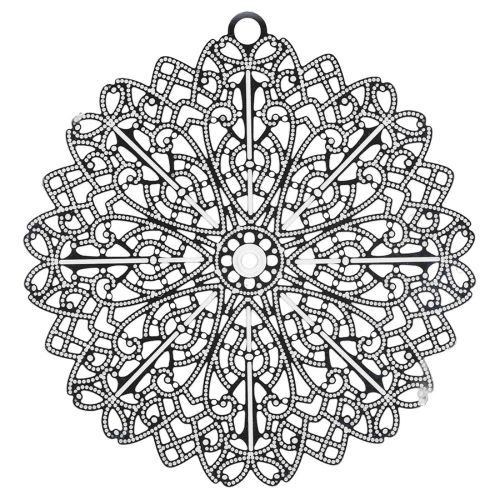Rosette / filigree pendant / surgical steel / 48x46mm / silver / 1pcs