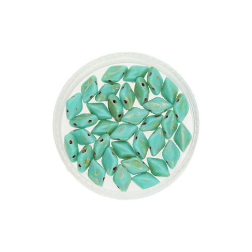 GEMDUO™ / 8x5mm / Picasso / Turquoise / 5g / ~35pcs