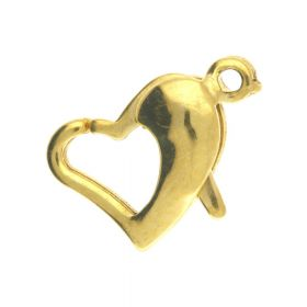 Heart clasp / surgical steel / 11x8x4mm / gold / 1pcs