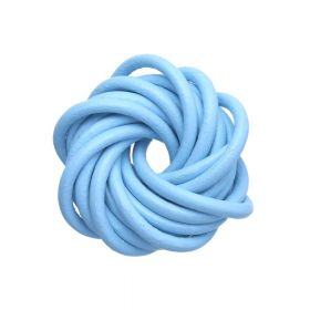 Leather cord / natural / round / 4mm / blue / 2m