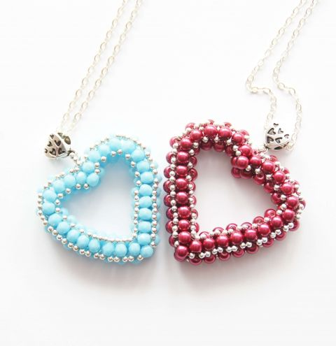 How to make a beaded heart - Jewellery making tutorial.