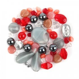 Preciosa Czech Glass Bead Mix Grey and Red 50g