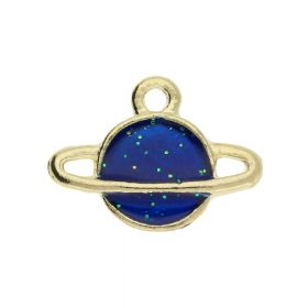 SweetCharm ™ Saturn / Pendant / 12x16x2.5mm / gold plated / blue / 2pcs