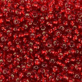Preciosa Size 6 Round Seed Beads Silver Lined Red 50g