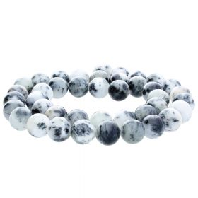 Jade / round / 12mm / white-grey-black / 34pcs