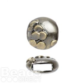 Bronze Tone Slider Charm Bead Raised Dot Design 12mm Pk1