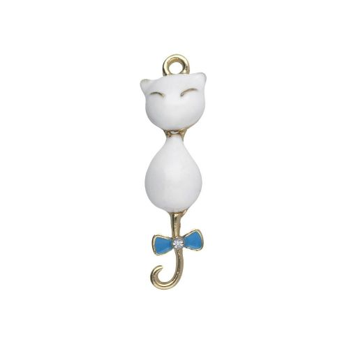 SweetCharm ™ Cat / charm pendant / 1 zircon / 35x10x5.5mm / gold plated / white / 1pcs