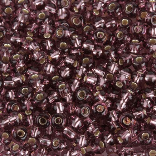 Preciosa Size 6 Round Seed Beads Silver Lined Mauve 50g