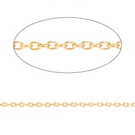 Gold Plated Steel Chain 2x3mm 1metre