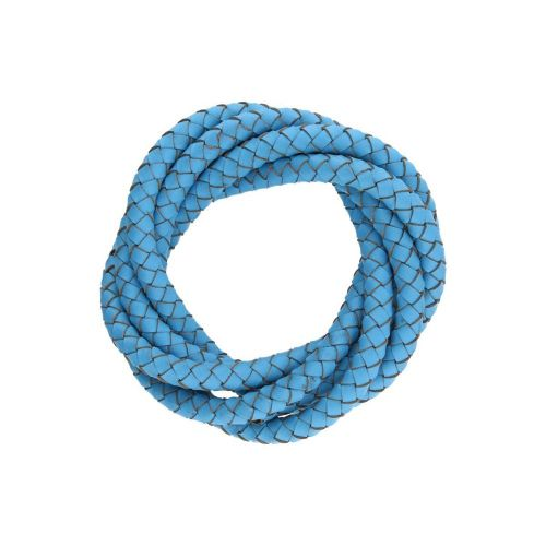 Leather cord / natural / round / braided / 6mm / azure / 1m