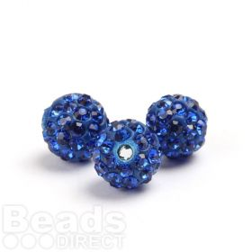 Blue Round 8mm Essential Shamballa Fashion Bead Pk3