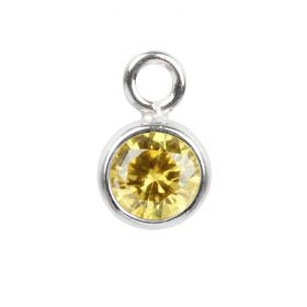 Sterling Silver 925 Yellow Cubic Zirconia Small Circle Charm 5mm Pk1
