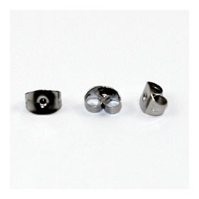 Black Plated Earring Back/Base 4x6x3mm 1xPair