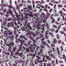 Miyuki Cube Beads 4mm Colour Lined Purple 10g