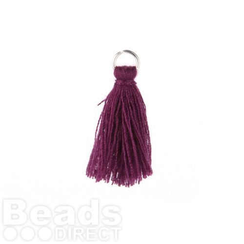 X-Purple Cotton Pom Pom Tassel Charm with Rhodium Ring 25-30mm Pk2