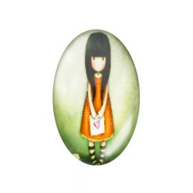 Glass cabochon with graphics oval 13x18mm PT1501 / orange-green / 2pcs