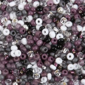 Preciosa Round Seed Bead Mix Size 8 Grey/Purple/White 50g