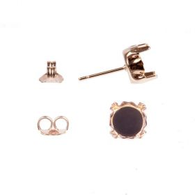 Rose Gold Plated SS39 Earring Setting 8mm with Earring Backs 1xPair