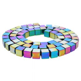 Hematite / cube / 8x8x8mm / opalescent / 48pcs