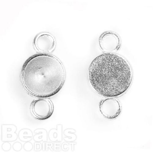 Antique Silver Charm Setting for 8mm Chaton Pk2