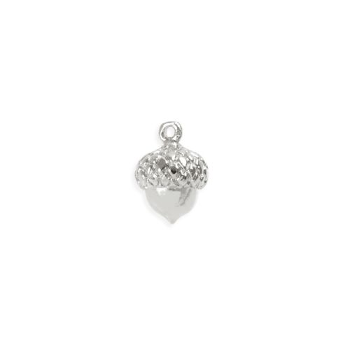 Rhodium Plated Brass Acorn Charm 9mm Pk1