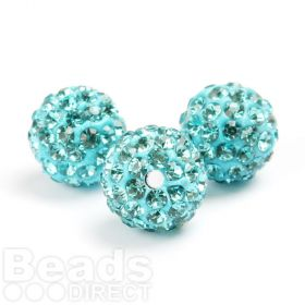 Turquoise Round 10mm Essential Shamballa Fashion Bead Pk3