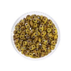 SuperDuo™ / glass beads / 2.5x5mm / Picasso Silver / Yellow / 10g / ~140pcs